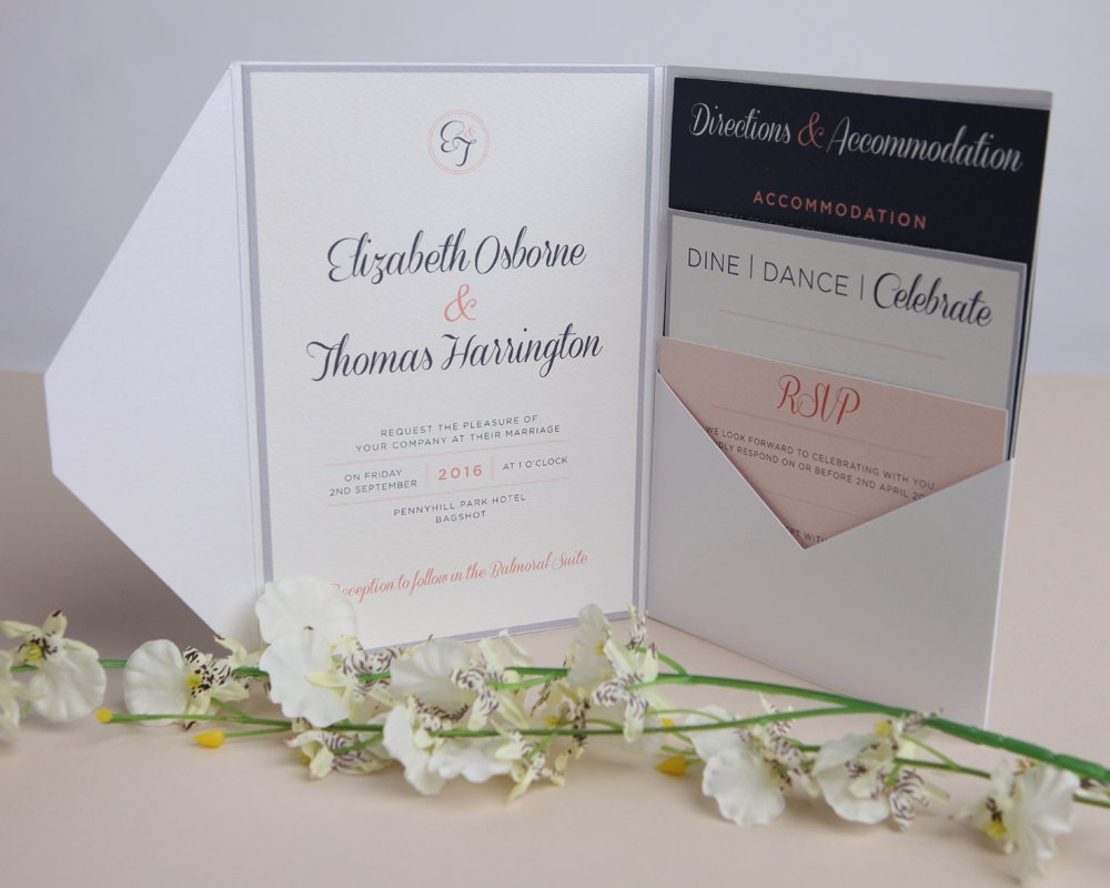 Pink and navy wedding invitations a5 silver pocketfold for A5 pocketfold wedding invitations