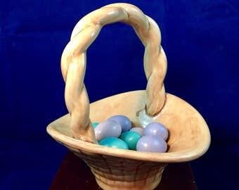 Vintage Studio Pottery Easter Basket, with a Dozen wooden eggs, Adorable