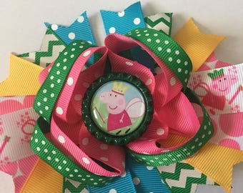 Peppa Pig Inspired Hairbow