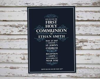 First Holy Communion invitation, Communion Thank You Card, Holy Communion invitations, Holy Communion invite DIY