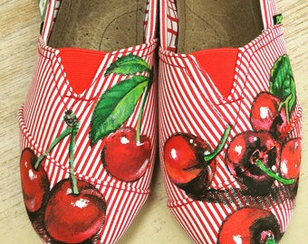Custom painted shoes with cherries!