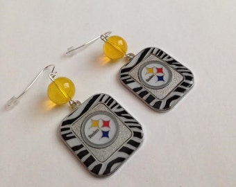 Pittsburgh Steelers Inspired Earrings, Steelers Earrings, Steelers Jewelry, Pittsburgh Steelers Jewelry, Ships From USA