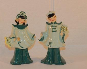 Vintage Florence Ceramics Oriental Boy & Girl