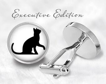 Playful Cat Cufflinks - Cute Cat Cuff Links - Black Cat Cufflink - Cat Cuff Links (Pair) Lifetime Guarantee (S0445)