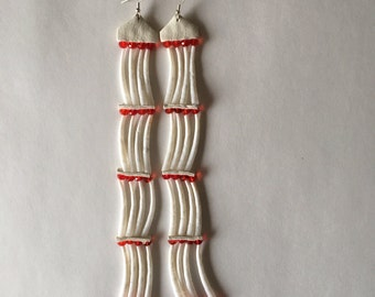 Red Glass beads and Dentalium Shell earrings