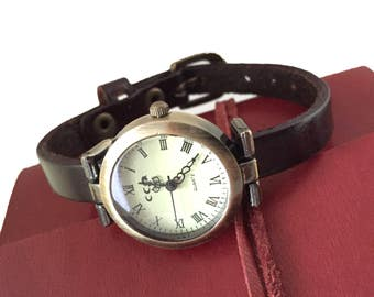 Women's  watches birthday gift, mothers day, black leather strap for women