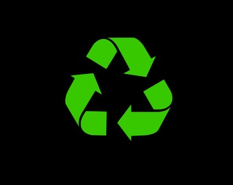 Recycle Symbol Vinyl Decal in your choice of size and color! Perk up that boring recycle bin and reduce, reuse, recycle today!
