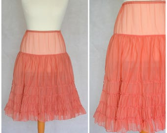 Original Vintage 1950s Nylon Net Petticoat Pink size 8-10