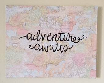 Adventure Awaits Quote Map Canvas, 11x13 in. Wall Art, Decorative Map Hanging MADE TO ORDER