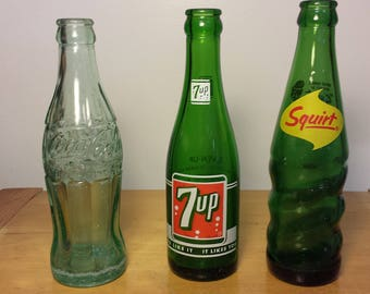 Vintage Coke, 7UP and Sqiurt Bottles