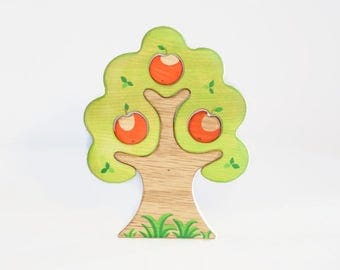 WALDORF Apple tree toy Waldorf nature table Infant Learning Toys Wooden Tree Toy Tree figurine Woodland set puzzle Handmade  Christmas gift
