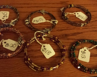 memory wire beaded bracelets