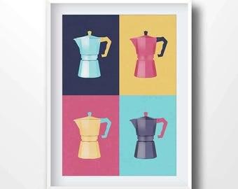 Moka pot poster, moka print, moka decor, moka illustration, coffe printable, contemporary, mid century, italian, bialetti, coffee art, 5025
