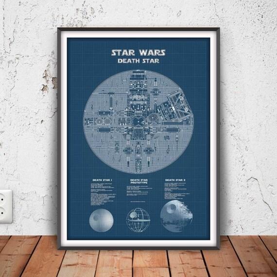 DEATH STAR Poster Death Star Blueprint Star Wars Printable - Death star blueprints