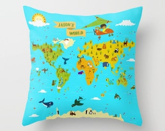 Custom Map Pillow Etsy - Us map pillow personalized