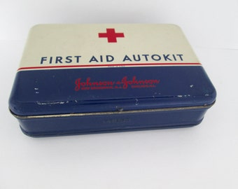 Vintage Automobile First Aid AutoKit w/ Red Cross Supplies~Johnson & Johnson~Metal tin~Travel Car Kit~Emergency Kit
