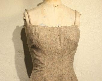 Vintage Tweed Dress with Full Skirt, Spaghetti Straps, and Slim Waist