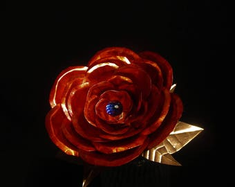 Medium Copper Red Rose Sculpture With Crystal