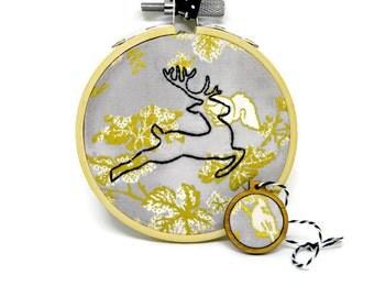 SALE - Raindeer Ornament - Embroidery Ornament - Hoop Ornament - Christmas Ornament - Raindeer Embroidery - Tree Ornament