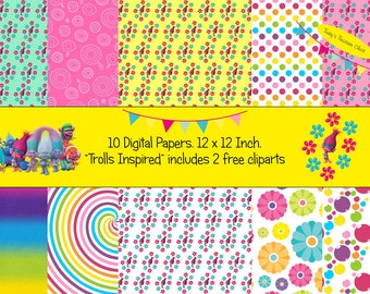 "Trolls inspired Digital Paper Pack 12"" x 12"". JPG digital download file. Scrapbooking Paper. 10 page. Mixed Colours. 2 free cliparts."