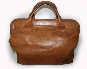 Vintage Bag Large Military style leather duffle bag Luggage Carry On Bag Tan Leather Bag Travel Luggage Over Night Bag