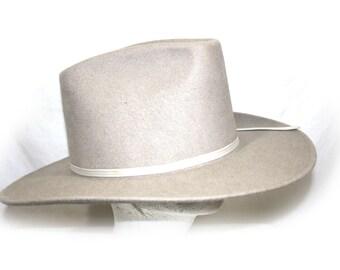 Vintage Men's Cowboy Hat Grey Rockmount Ranch Large 7 1/4 USA Grey Wool Western Cowboy Hat Ranch Hat