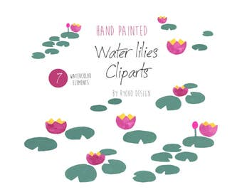 Watercolor lily, lotus, water pond, clip arts, clipart, spring greetings,invitations, card making, supplies, watercolour