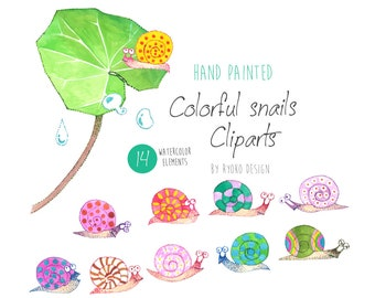 Snails watercolor clip art, colorful, insect, illustration,rain drops, card making, hand painted,nursery, printable, instant download