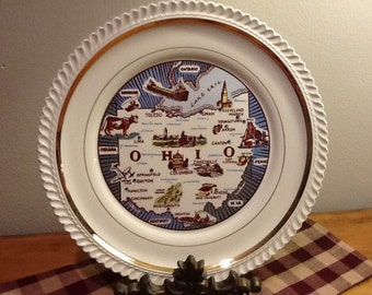 Vintage Ohio Plate, Pearl China Co. Ohio Souvenir Plate 22kt Gold Trim,  Kitschy and Cute