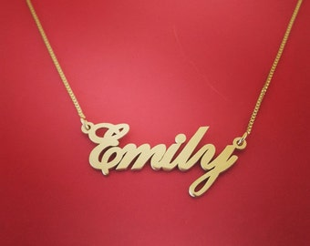 14kt Gold Name Necklace Name chain gold name plate chain name chain necklace gold chain with name custom name chain gold chain name pendant