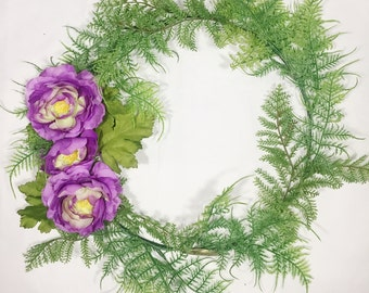 Modern Peony Wreath, Small, Ring, Thin Wreath, Simple, Interior, Wall Decor, Indoors, Purple, Green, Spring, Summer, Unique, Flower, Floral