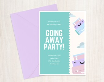 Going Away Party Invitation Printable 5x7 , Custom Going Away Invitation, Digital Bon Voyage Invitation, Going Away Party