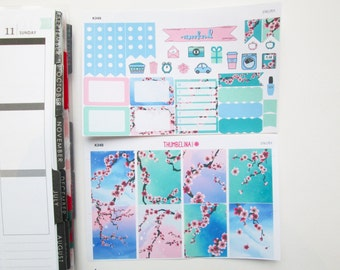 Sakura Cherry Blossom Mini Kit Planner Stickers for Erin Condren Life Planner (K34)