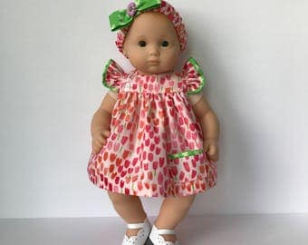 Bitty Baby Dress with Flutter Sleeves, Bloomers, Headband and Matching Diaper