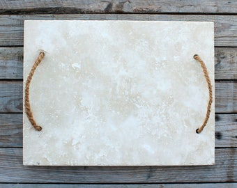 """12"""" x 16""""- Slate Serving Tray Cheese Board with Coconut Handles  - 5 colors -"""