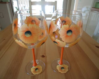 Set of Two Extra Large Orange Poppy Wine Glasses