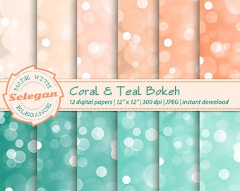 Coral & Teal Bokeh, Digital Paper, Scrapbooking, Paper, 12x12, Printable, Lighting,Glitter, Pattern, Bokeh, Texture, Coral, Teal, Background