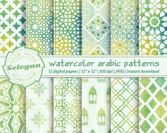 """watercolor digital paper """" Watercolor Arabic patterns """" middle eastern islamic printable patterns water colour background"""