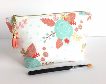 Makeup Bag - Gift for Her - Small Cosmetic Bag - Bridesmaid Gift - Mint and Gold - Gift for Women - Floral Makeup Bag - Birthday Gift