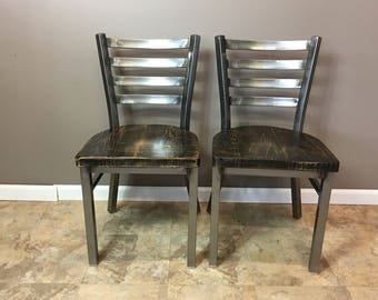 Reclaimed Dining Chair| Set of 2 | In Gun Metal Gray Metal Finish | Ladder Back Metal | Restaurant Grade -18 Inch High Dining Chair