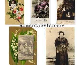 Digital Download - {Victorian Era} 1920s Art beauty Postcards set, vintage postcard, illustration, valentines day, flowers, romantic
