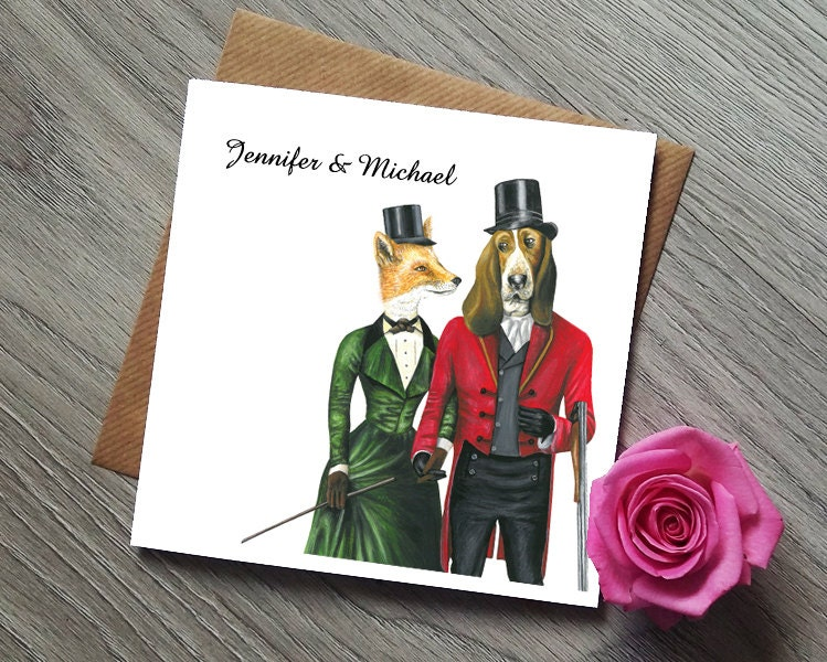 Funny Wedding Invitation Foxy Lady and her Handsome Hound