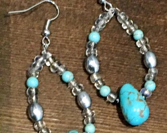 Blingy Turquoise Beaded Dangle Earrings