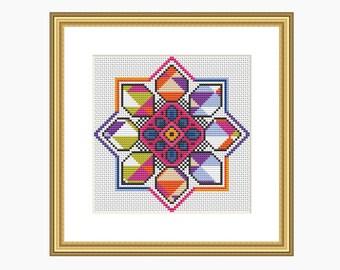 Cross Stitch Pattern, Modern cross stitch, Abstract KALEIDOSCOPE cross stitch pattern - Instant Download PDF.  Modern and colourful.