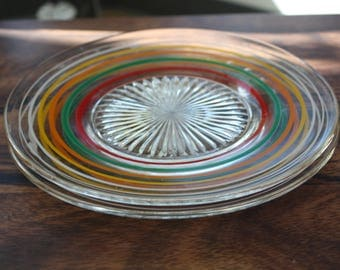 Set of 2 Vintage Multicolored Striped Plates