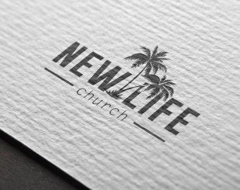 Custom Logo- Church, Palm Tree