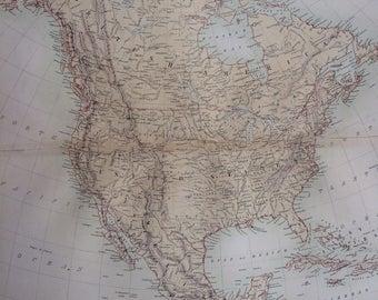 1859 NORTH AMERICA extra large rare original antique A & C Black Map - USA - Canada - Mexico - Central America - West Indies