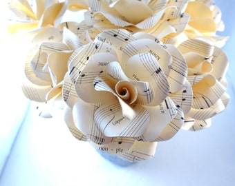 Sheet Music Flowers - Paper flowers with stems - Disney Theme Wedding - Paper Flower Bouquet - Wedding Centerpieces - First Anniversary