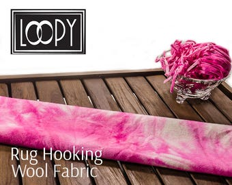 Rug Hooking 100% wool fabric, Pink (Cotton Candy) hand dyed for rug hooking or wool applique