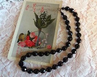 Vintage Art Deco French Jet Necklace, Black Glass Necklace, Faceted Jet Crystal Necklace